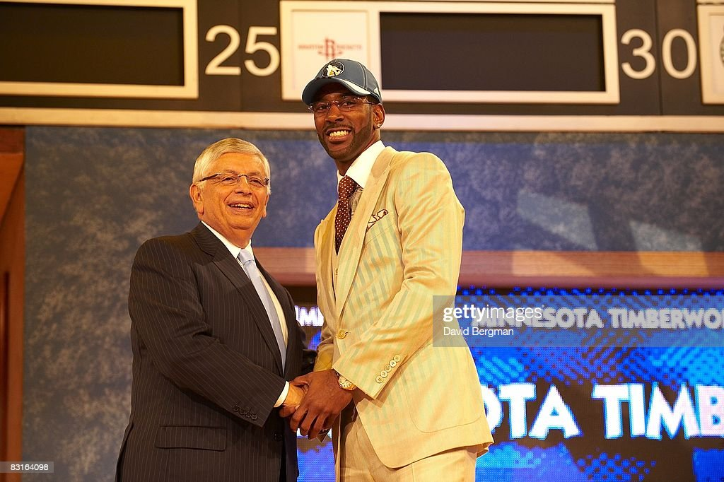 NBA commissioner David Stern shaking hands with Minnesota Timberwolves pick O.J. Mayo during draft at Madison Square Garden. New York, NY 6/26/2008