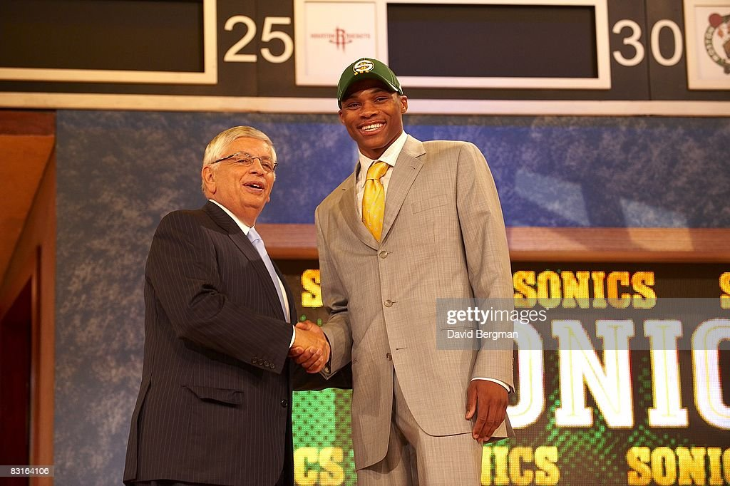 NBA commissioner David Stern shaking hands with Seattle Supersonics pick Russell Westbrook during draft at Madison Square Garden. New York, NY 6/26/2008
