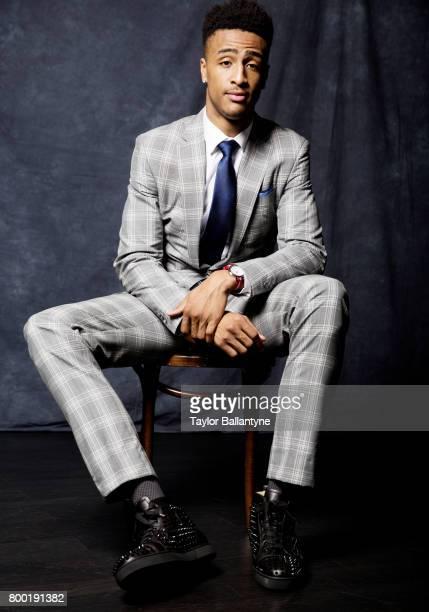 NBA Draft Portrait of Atlanta Hawks No 19 pick John Collins posing during photo shoot after selection process at Barclays Center Behind the Scenes...