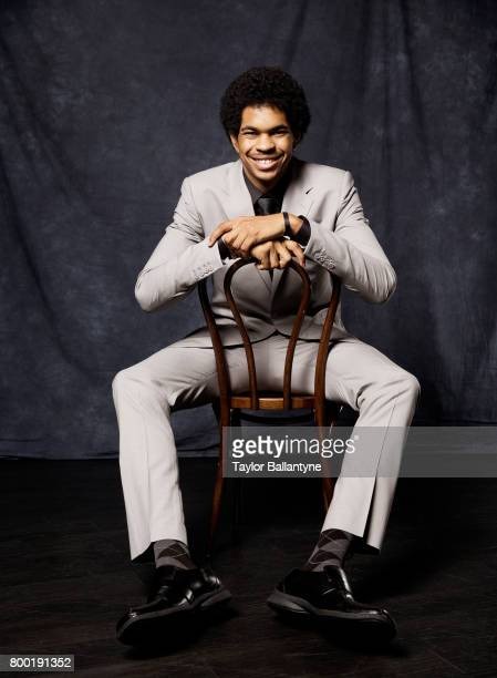 NBA Draft Portrait of Brooklyn Nets No 22 pick Jarrett Allen posing during photo shoot after selection process at Barclays Center Behind the Scenes...