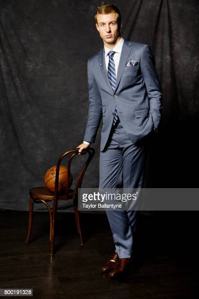 NBA Draft Portrait of Detroit Pistons No 12 pick Luke Kennard posing during photo shoot after selection process at Barclays Center Behind the Scenes...