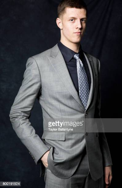 NBA Draft Portrait of Houston Rockets No 43 pick Isaiah Hartenstein posing during photo shoot after selection process at Barclays Center Behind the...
