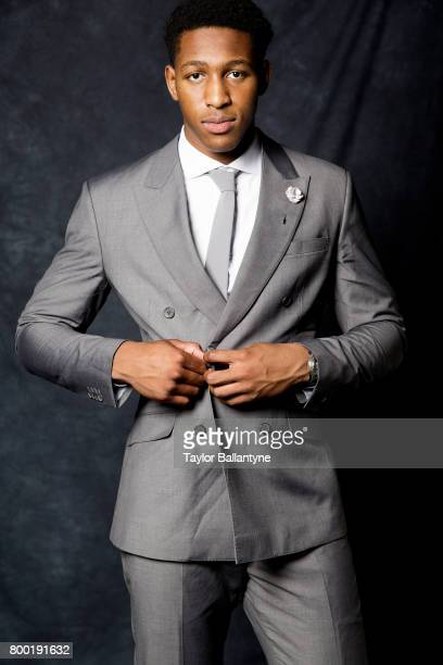 NBA Draft Portrait of Indiana Pacers No 47 pick Ike Anigbogu posing during photo shoot after selection process at Barclays Center Behind the Scenes...