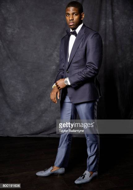 NBA Draft Portrait of Los Angeles Clippers No 39 pick Jawun Evans posing during photo shoot after selection process at Barclays Center Behind the...