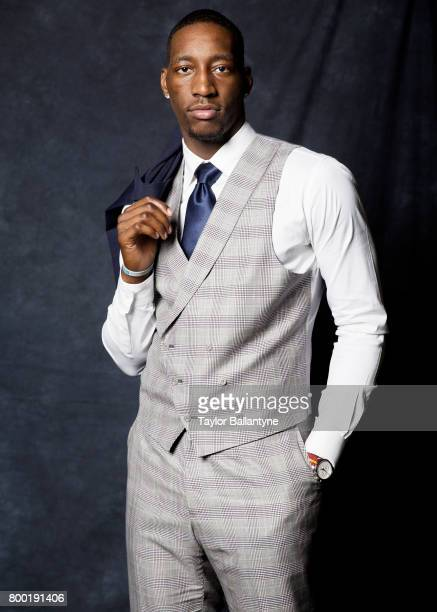 NBA Draft Portrait of Miami Heat No 14 pick Bam Adebayo posing during photo shoot after selection process at Barclays Center Behind the Scenes...