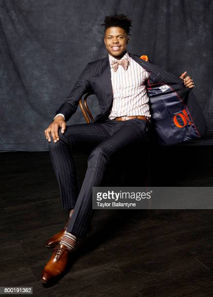NBA Draft Portrait of Minnesota Timberwolves No 16 pick Justin Patton posing during photo shoot after selection process at Barclays Center Behind the...