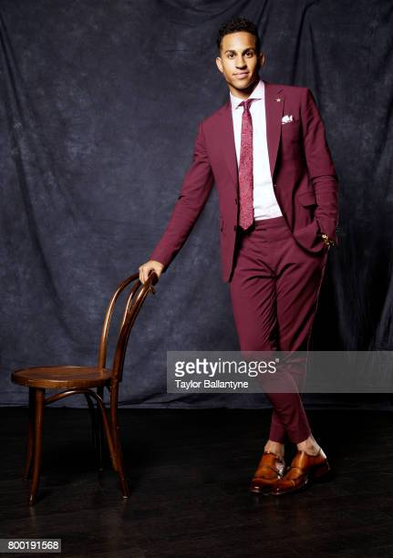NBA Draft Portrait of New Orleans Pelicans No 31 pick Frank Jackson posing during photo shoot after selection process at Barclays Center Behind the...