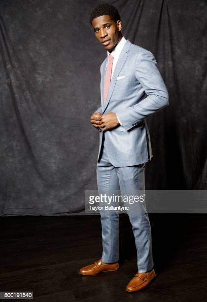 NBA Draft Portrait of New York Knicks No 44 pick Damyean Dotson during photo shoot after selection process at Barclays Center Behind the Scenes...