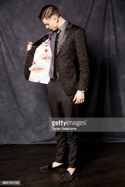 NBA Draft Portrait of Portland Trail Blazers No 10 pick Zach Collins posing during photo shoot after selection process at Barclays Center Behind the...