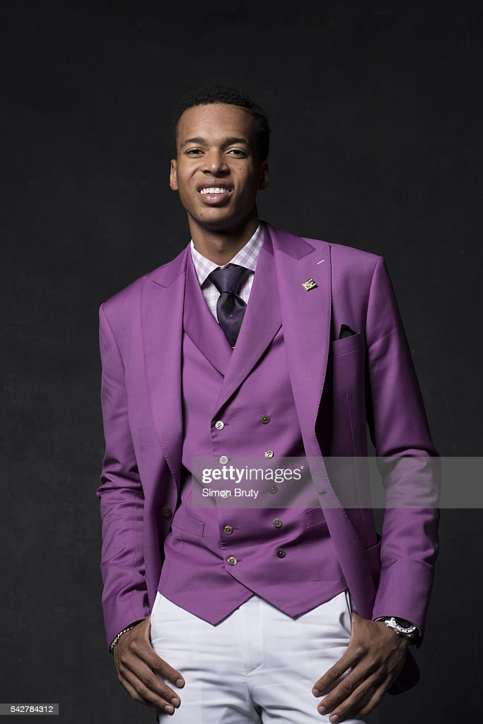 Portrait of Sacramento Kings forward Skal Labissiere posing during photo shoot after selection process at Barclays Center. Behind the Scenes. The Kings agreed to acquire Labissiere from the Phoenix Suns. Simon Bruty TK1 )