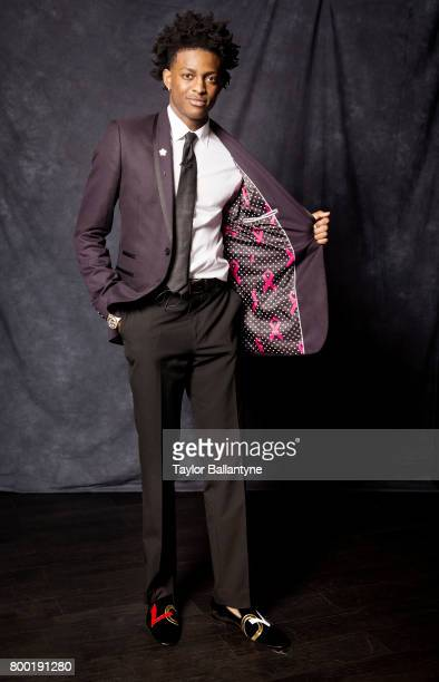 NBA Draft Portrait of Sacramento Kings No 5 pick De'Aaron Fox posing during photo shoot after selection process at Barclays Center Behind the Scenes...