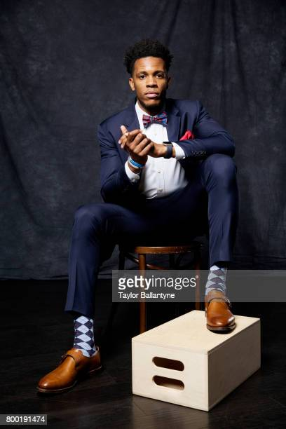 NBA Draft Portrait of San Antonio Spurs No 59 pick Jaron Blossomgame posing during photo shoot after selection process at Barclays Center Behind the...