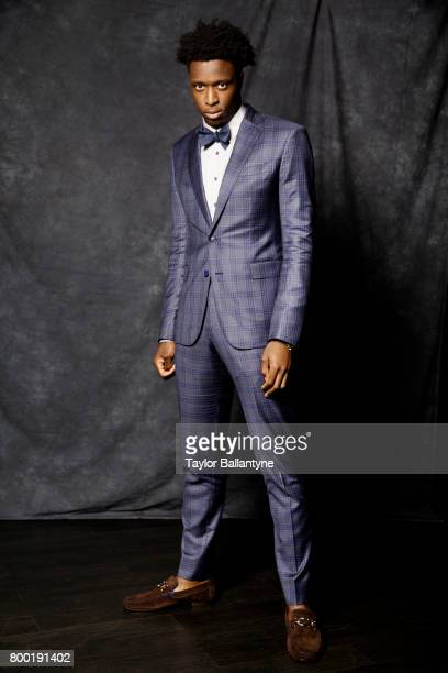 NBA Draft Portrait of Toronto Raptors No 23 pick OG Anunoby posing during photo shoot after selection process at Barclays Center Behind the Scenes...