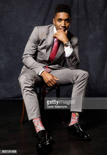 NBA Draft Portrait of Utah Jazz No 13 pick Donovan MItchell posing during photo shoot after selection process at Barclays Center Behind the Scenes...