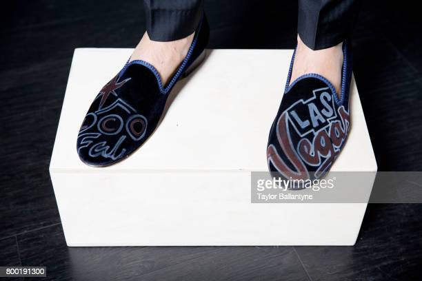 NBA Draft View of Portland Trail Blazers No 10 pick Zach Collins shoes during photo shoot after selection process at Barclays Center Behind the...