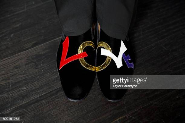 NBA Draft View of Sacramento Kings No 5 pick De'Aaron Fox shoes during photo shoot after selection process at Barclays Center Behind the Scenes Shoes...