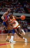 NBA Eastern Conference First Round Atlanta Hawks Dominique Wilkins in action vs Detroit Pistons John Salley Game 5 Auburn Hills MI 5/5/1991 CREDIT...