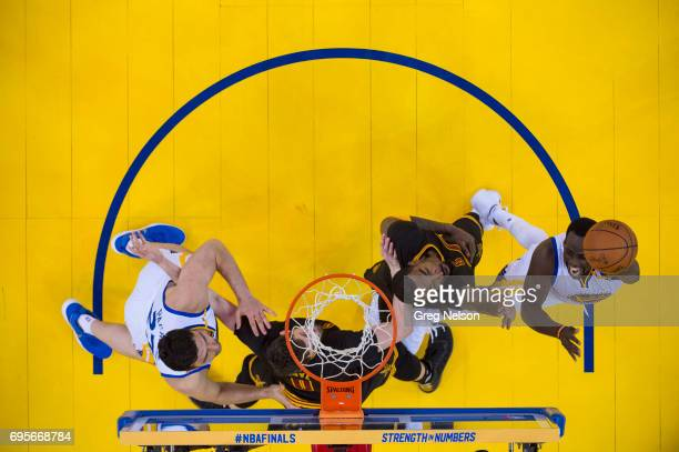 NBA Finals Aerial view Golden State Warriors Draymond Green in action vs Cleveland Cavaliers JR Smith at Oracle Arena Game 5 Oakland CA CREDIT Greg...