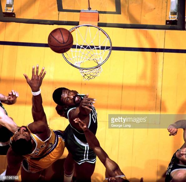 NBA Finals Aerial view of Boston Celtics Bill Russell in action rebound vs Los Angeles Lakers Wilt Chamberlain Inglewood CA 4/23/19694/25/1969 CREDIT...
