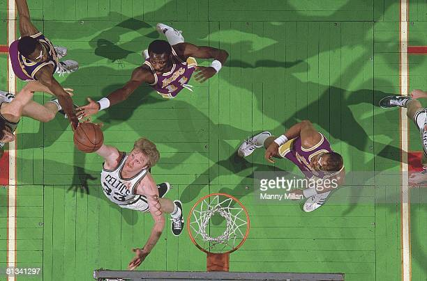 Basketball NBA finals Aerial view of Boston Celtics Larry Bird in action getting rebound vs Los Angeles Lakers James Worthy Bob MacAdoo and Kareem...