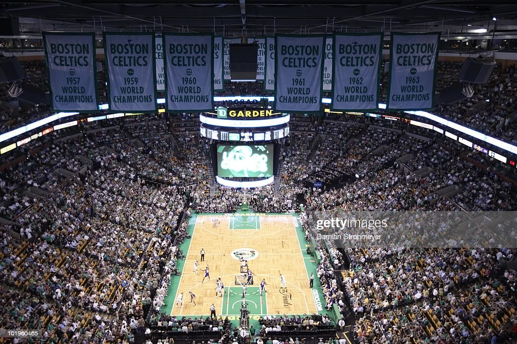 Aerial view of championship banners and TD Garden during Game 3 between Boston Celtics and Los Angeles Lakers. Boston, MA 6/8/2010