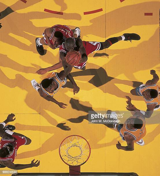 NBA Finals Aerial view of Chicago Bulls Michael Jordan in action vs Los Angeles Lakers Game 4 Inglewood CA 6/9/1991 CREDIT John W McDonough