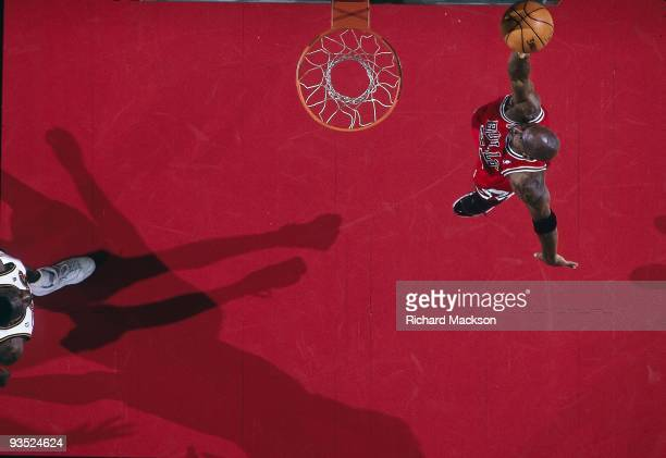 NBA Finals Aerial view of Chicago Bulls Michael Jordan in action dunk vs Seattle SuperSonics Game 4 Seattle WA 6/12/1996 CREDIT Richard Mackson