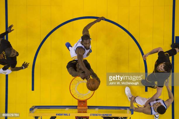 NBA Finals Aerial view of Cleveland Cavaliers Iman Shumpert in action vs Golden State Warriors Kevin Durant at Oracle Arena Game 2 Oakland CA CREDIT...