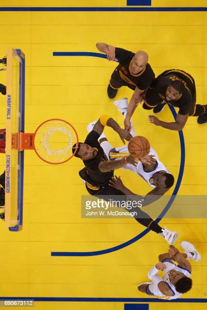 NBA Finals Aerial view of Cleveland Cavaliers JR Smith in action vs Golden State Warriors Draymond Green at Oracle Arena Game 5 Oakland CA CREDIT...