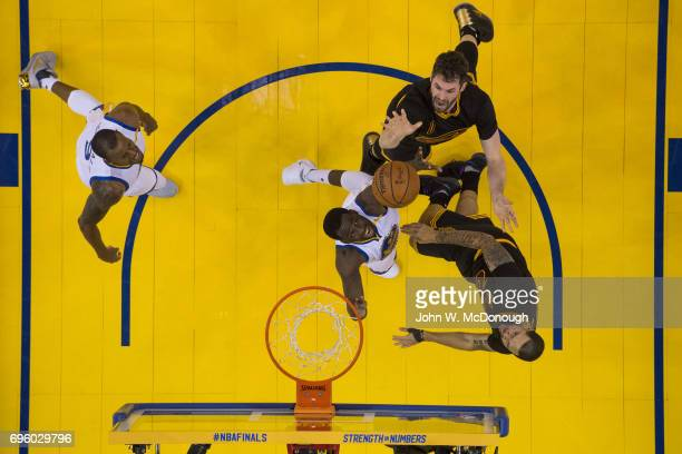 NBA Finals Aerial view of Cleveland Cavaliers Kevin Love in action shot vs Golden State Warriors at Oracle Arena Game 2 Oakland CA CREDIT John W...