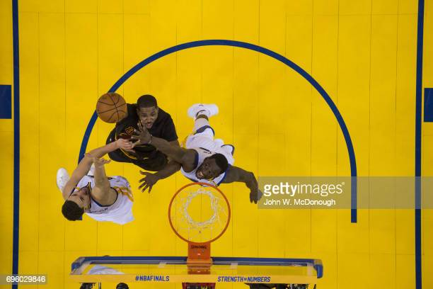 NBA Finals Aerial view of Cleveland Cavaliers Tristan Thompson in action layup vs Golden State Warriors at Oracle Arena Game 2 Oakland CA CREDIT John...