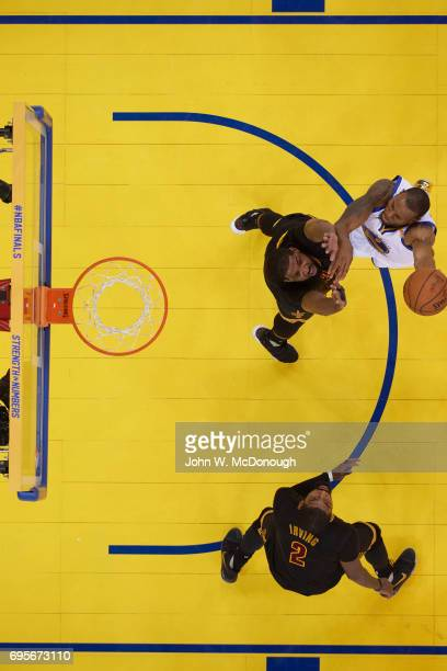 NBA Finals Aerial view of Golden State Warriors Andre Iguodala in action vs Cleveland Cavaliers Tristan Thompson at Oracle Arena Game 5 Oakland CA...