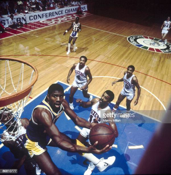NBA Finals Aerial view of Los Angeles Lakers Magic Johnson in action vs Philadelphia 76ers Game 1 Philadelphia PA 5/27/1982 CREDIT Manny Millan