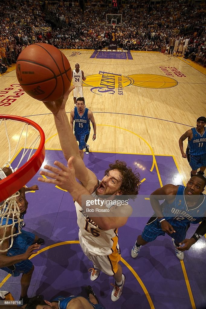 Aerial view of Los Angeles Lakers Pau Gasol (16) in action vs Orlando Magic. Game 2. Los Angeles, CA 6/7/2009