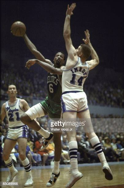 NBA Finals Boston Celtics Bill Russell in action hook shot vs LA Lakers Darrall Imhoff Game 3 Los Angeles CA 4/18/1966 CREDIT Walter Iooss Jr