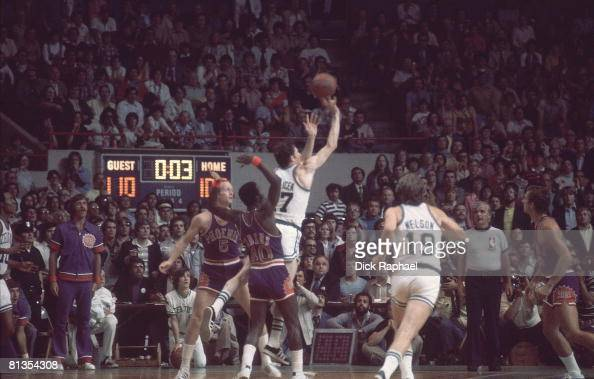 Basketball NBA Finals Boston Celtics John Havlicek in action taking last second shot during second overtime vs Phoenix Suns Game 5 Boston MA 6/4/1976