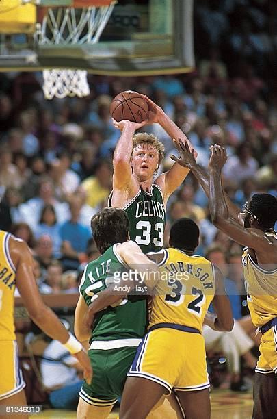 Basketball NBA Finals Boston Celtics Larry Bird in action taking shot vs Los Angeles Lakers Game 3 Inglewood CA 6/2/1985