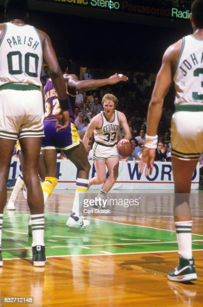 NBA Finals Boston Celtics Larry Bird in action vs Los Angeles Lakers at Boston Garden Game 2 Boston MA CREDIT Carl Skalak
