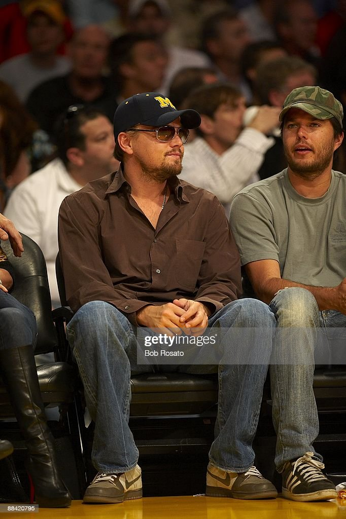Celebrity actor <a gi-track='captionPersonalityLinkClicked' href=/galleries/search?phrase=Leonardo+DiCaprio&family=editorial&specificpeople=201635 ng-click='$event.stopPropagation()'>Leonardo DiCaprio</a> before Game 2 between the Los Angeles Lakers vs Orlando Magic. Los Angeles, CA 6/7/2009
