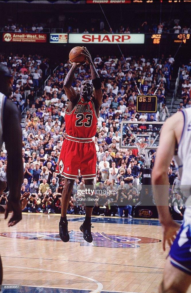 NBA Finals Chicago Bulls Michael Jordan in action game winning shot vs Utah Jazz Game 6 Cover Salt Lake City UT 6/14/1998 CREDIT John Biever