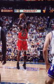 NBA Finals Chicago Bulls Michael Jordan in action game winning shot vs Utah Jazz Game 6 Cover Salt Lake City UT 6/14/1998 CREDIT John Biever