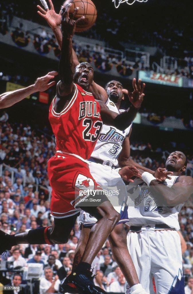 Basketball NBA Finals Chicago Bulls Michael Jordan in action layup vs Utah Jazz Game 6 Salt Lake City UT 6/14/1998