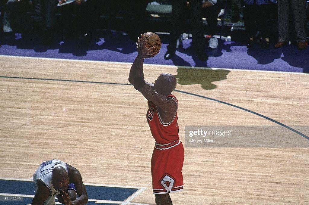 Basketball NBA Finals Chicago Bulls Michael Jordan in action making game winning shot vs Utah Jazz Game 6 Salt Lake City UT 6/14/1998