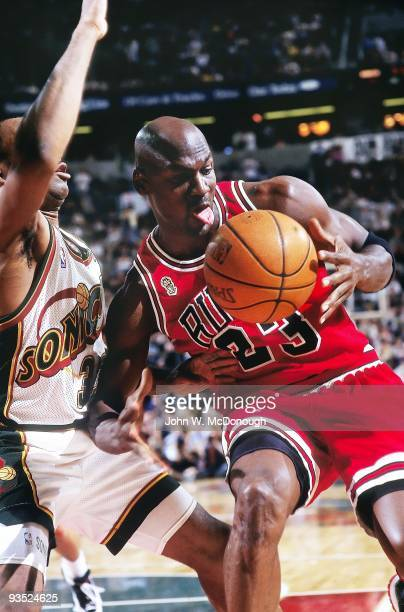 NBA Finals Chicago Bulls Michael Jordan in action vs Seattle SuperSonics Hersey Hawkins Game 4 Seattle WA 6/12/1996 CREDIT John W McDonough