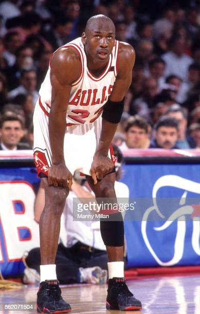 NBA Finals Chicago Bulls Michael Jordan pulling at the end of his shorts during game vs Portland Trail Blazers at Chicago Stadium Game 1 Chicago IL...