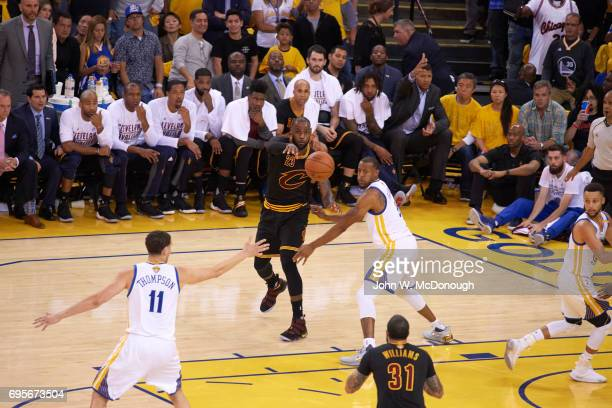 NBA Finals Cleveland Cavaliers LeBron James in action passing vs Golden State Warriors Andre Iguodala at Oracle Arena Game 5 Oakland CA CREDIT John W...