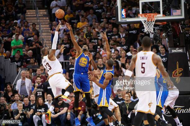 NBA Finals Cleveland Cavaliers LeBron James in action vs Golden State Warriors Kevin Durant during game at Quicken Loans Arena Game 4 Cleveland OH...