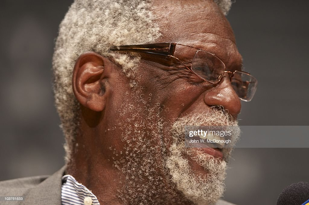 Closeup of former Boston Celtics player <a gi-track='captionPersonalityLinkClicked' href=/galleries/search?phrase=Bill+Russell+-+Basketball+Player&family=editorial&specificpeople=11524303 ng-click='$event.stopPropagation()'>Bill Russell</a> during Game 7 between Los Angeles Lakers and Boston Celtics. Los Angeles, CA 6/17/2010