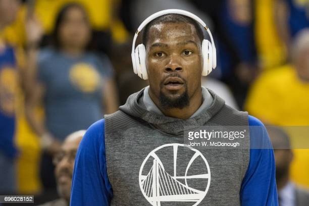NBA Finals Closeup of Golden State Warriors Kevin Durant wearing headphones before game vs Cleveland Cavaliers at Oracle Arena Game 2 Oakland CA...