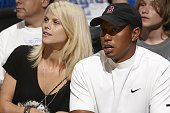 NBA Finals Closeup of golf athlete Tiger Woods and wife Elin Nordegren Woods during Orlando Magic vs Los Angeles Lakers Game 4 Orlando FL 6/11/2009...